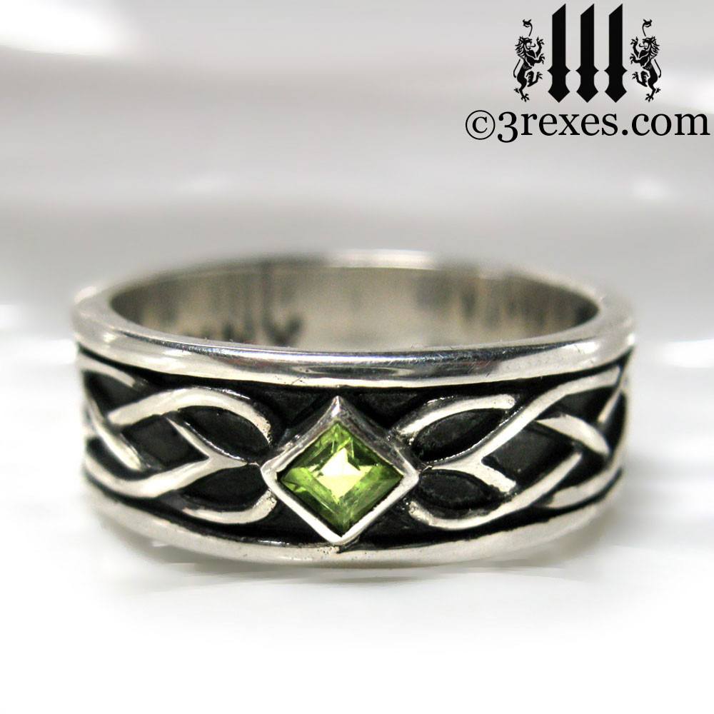 925 Sterling Silver Celtic Knot Soul Ring With Green Peridot Stone Mens Meval Wedding