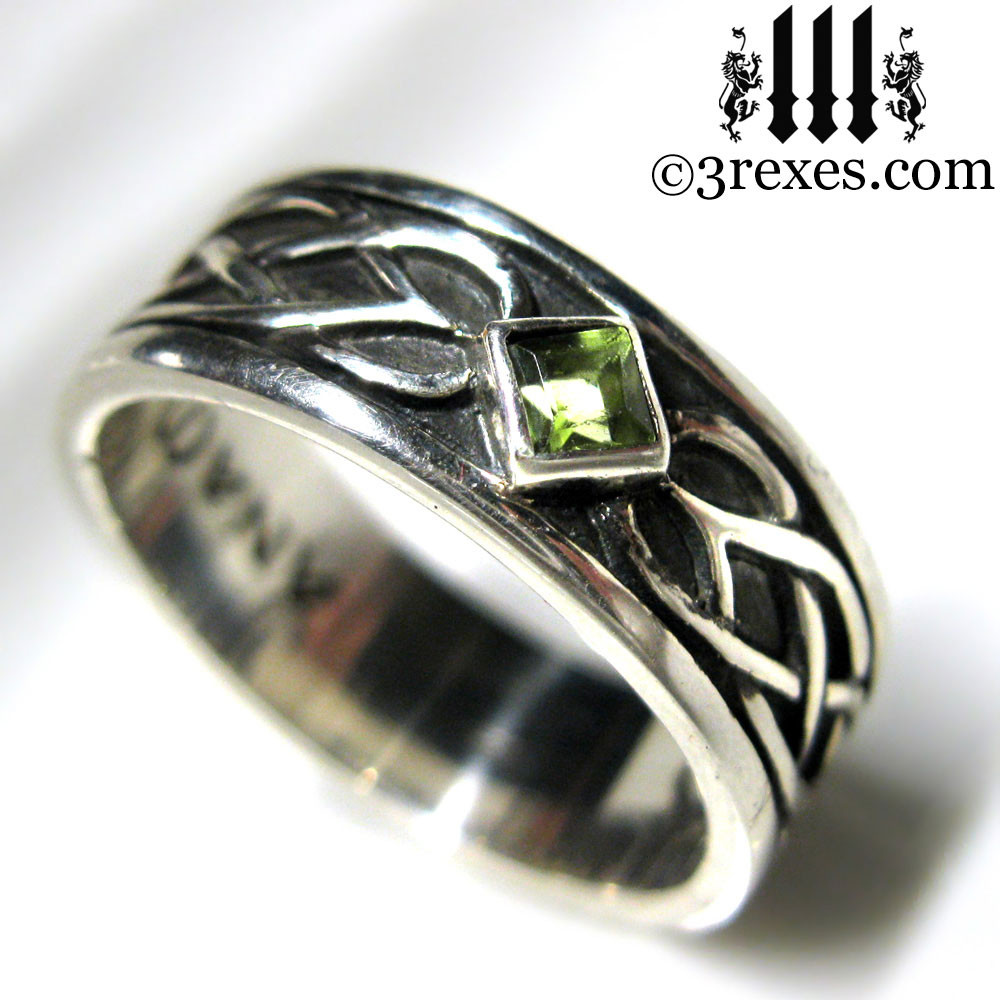 white gold band ring eternity full peridot august antique deco art rings wedding birthstone