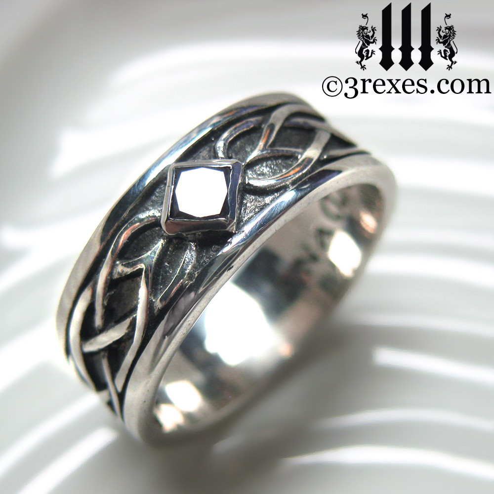 ... Mens Black Diamond Celtic Knot Wedding Ring Mens Medieval Wedding Ring  ...