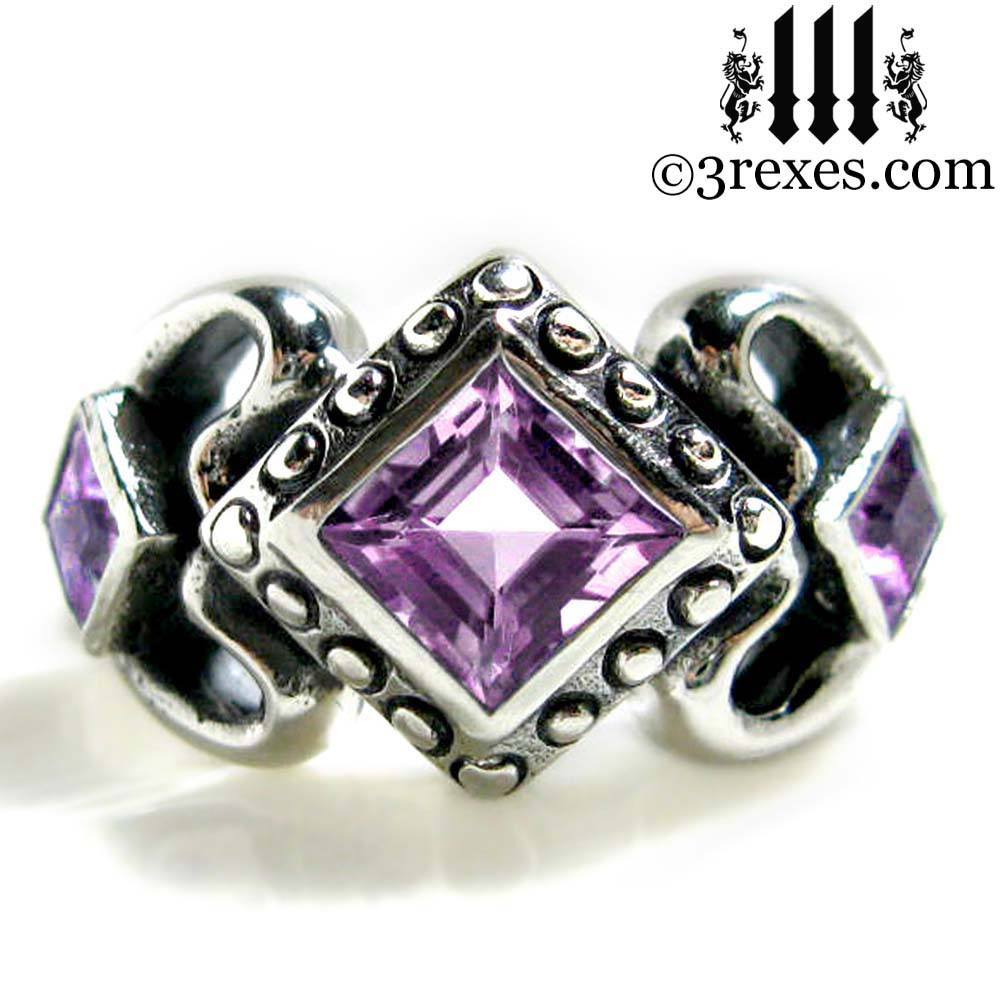 sterling meaningful stone rings three inlaid piece silver friendship wedding ring purple
