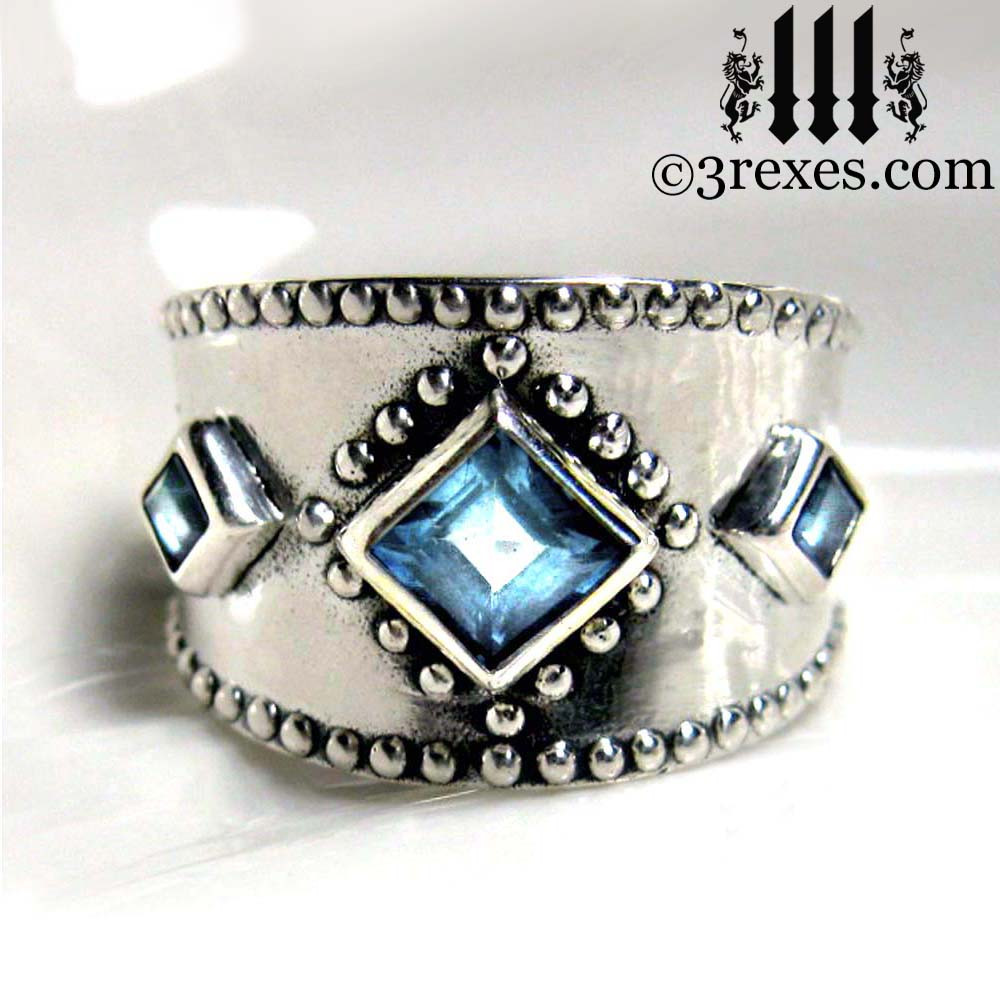 3 Wishes Medieval Silver Wedding Ring