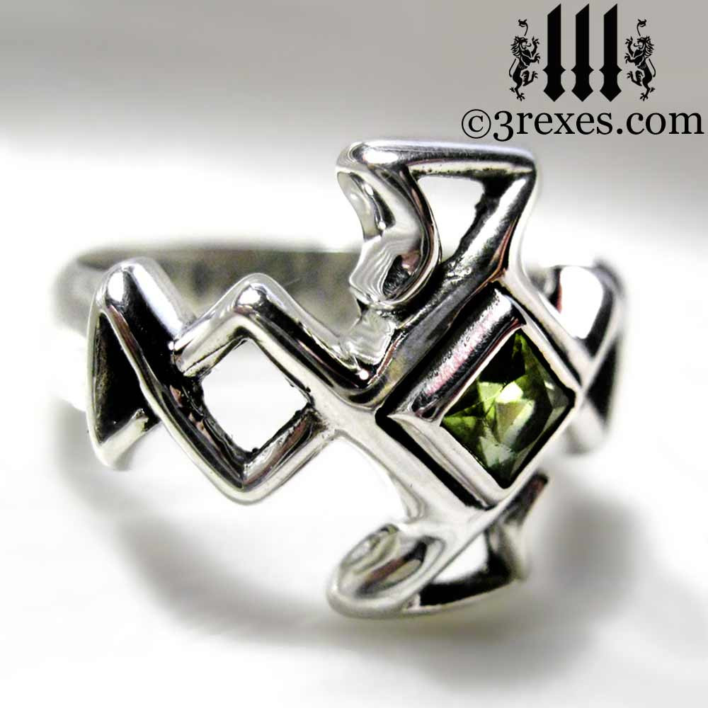 Medieval Bohemian Z Celtic Cross Wedding Ring Mens Sterling Silver Band