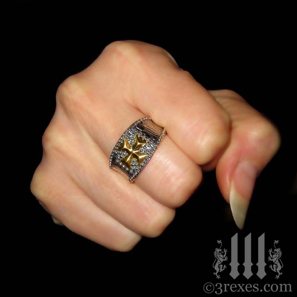 Studded Iron Cross Ring With Gold 3 Rexes Jewelry