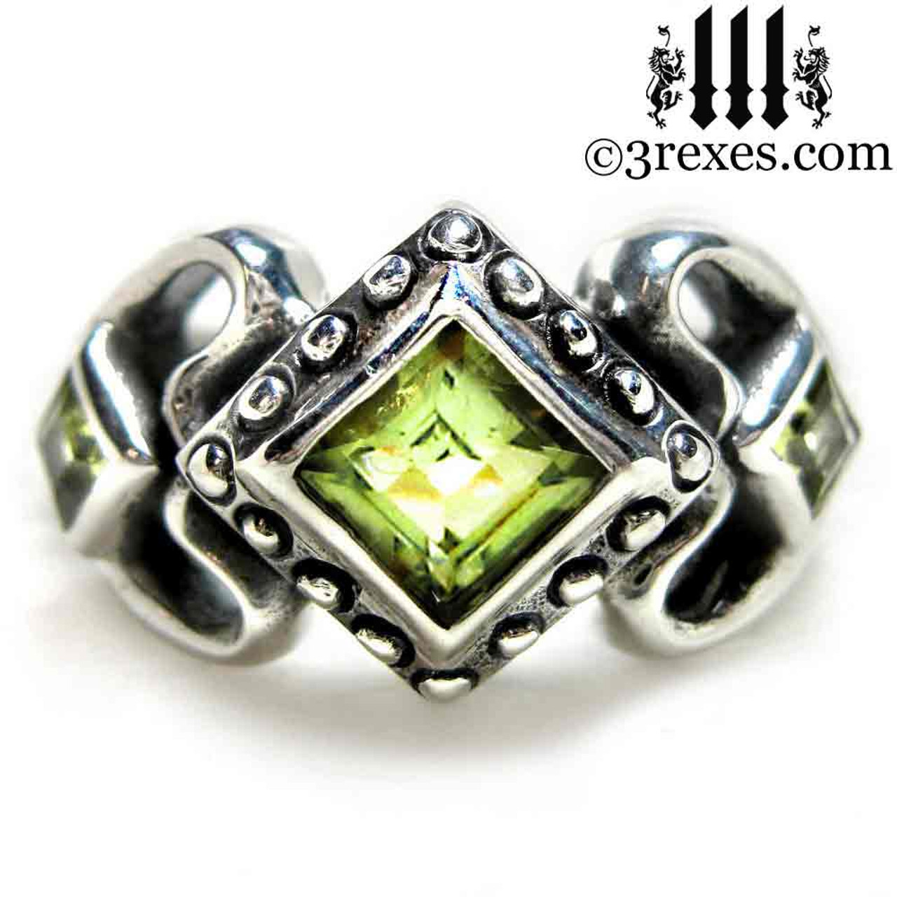 Ladies Gothic Wedding Ring Womans Medieval Engagement Band With Green  Peridot Stones 925 Silver Princess Love