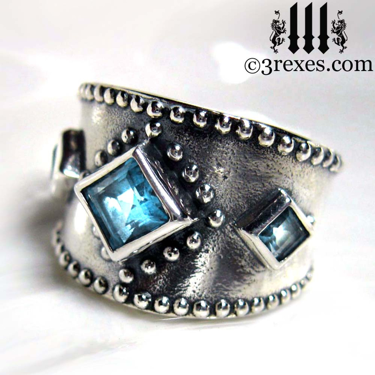 silver medieval wedding ring with gothic blue topaz stones - Gothic Wedding Ring