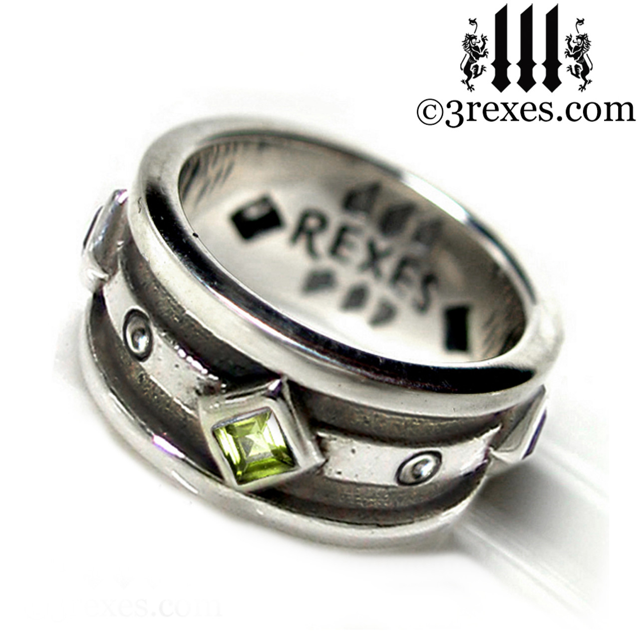 Moorish Gothic .925 Sterling Silver Wedding Ring With Green Peridot