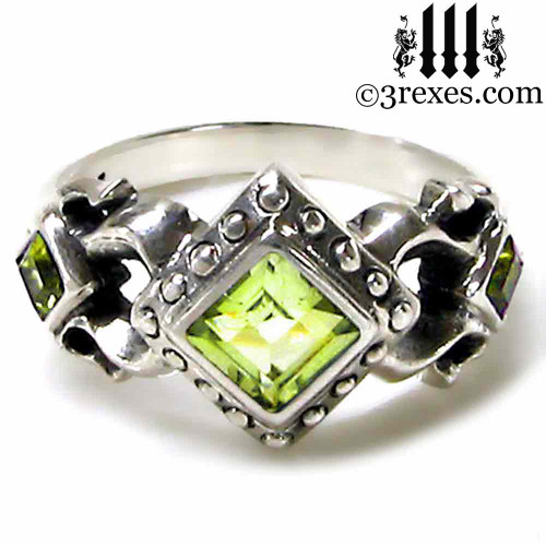 medieval wedding ring with green peridot stones 925 sterling silver ladies womans gothic goth engagement - Medieval Wedding Rings