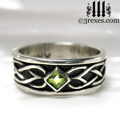 925 sterling silver celtic knot soul ring with green peridot stone mens medieval wedding ring - Medieval Wedding Rings