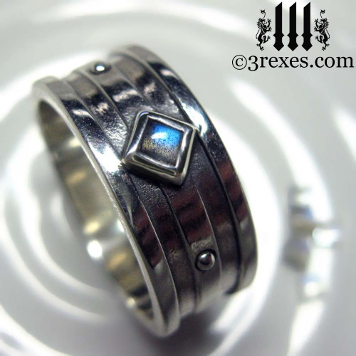 silver gothic wedding ring with labradorite stone - Gothic Wedding Ring