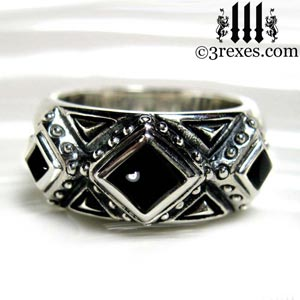 mens 3 kings wedding ring 925 sterling silver gothic band black onyx stone 3 rexes jewelry