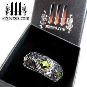 mens 3 kings wedding ring 925 sterling silver gothic band green peridot stone royal renaissance style for kings and queens - prestige ring box - by 3 rexes jewelry