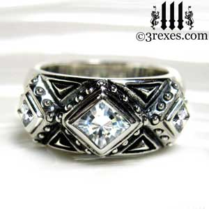 mens 3 kings wedding ring 925 sterling silver gothic band white cz stone royal renaissance style for kings and queens by 3 rexes jewelry