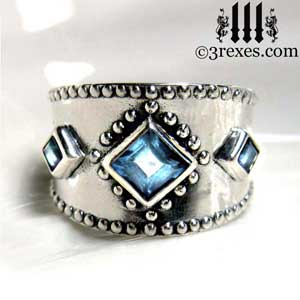 3-wishes-silver-medieval-wedding-ring-gothic-blue-topaz-stones-wide-studded-engagement-band-unisex unique design for women men kings and queens by 3 rexes jewelry