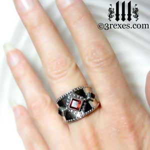 3-wishes-silver-medieval-wedding-ring-gothic-garnet-stones-wide-studded-band-925-sterling-model-hand by 3 rexes jewelry