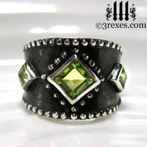 3-wishes-silver-medieval-wedding-ring-gothic-green-peridot-stones-wide-studded-engagement-band-dark-black-patina-unisex-design for women men kings and queens