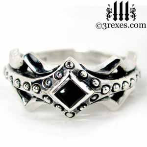 fairy-princess-engagement-ring-black-onyx-stone-sterling-silver-friendship-band-gothic-medieval-studs-fairy-tale-jewelry