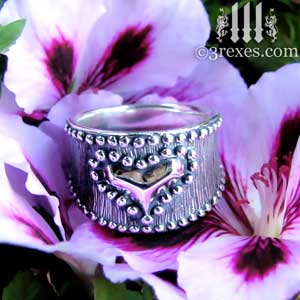 medieval-silver-studded-heart-ring-on-purple-flower-gothic-3-rexes-jewelry