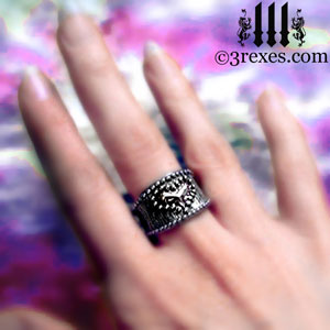 medieval-studded-heart-ring-gothic-model-detail