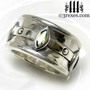 mens-silver-moorish-marquise-wedding-ring-green-peridot-stone-august-birthstone-3-rexes-jewelry