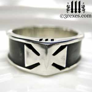 mens-silver-ring-knights-templar-iron-cross-band-rings with dark patina by 3 rexes jewelry