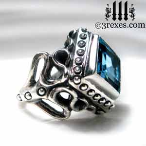 raven-love-silver-ring-medieval-blue-topaz-stone-side-detail december birthstone rings