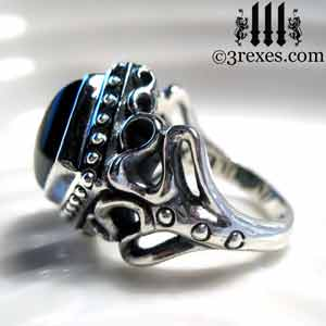 raven-love-silver-wedding-ring-gothic-black-onyx-cabochon-stone-medieval-engagement-band-side-view-2 cocktail and promise rings