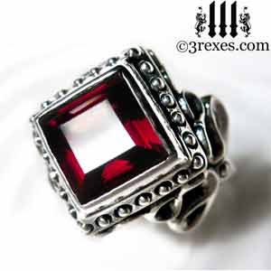 raven-love-silver-wedding-ring-gothic-garnet-stone-medieval-engagement-band-studded january birthstone rings and promise rings