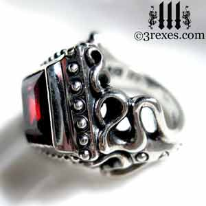raven-love-silver-wedding-ring-gothic-garnet-stone-medieval-engagement-band january birthstone rings and promise rings by 3 rexes jewelry