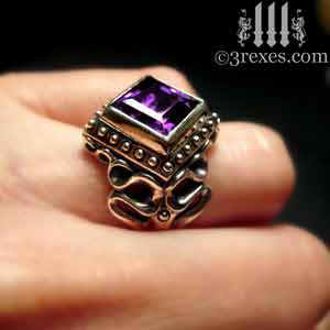 raven-love-silver-wedding-ring-gothic-purple-amethyst-stone-medieval-engagement-band-model large cocktail statement rings by 3 rexes jewelry