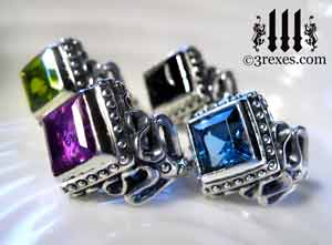 raven-love-silver-wedding-rings-gothic-stone-medieval-engagement-bands-green-peridot-blue-topaz-purple-amethyst-black-onyx