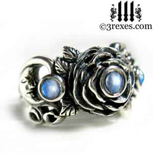 silver-rose-moon-spider-ring-gothic-blue-moonstone-wedding-engagement-band june birthstone by 3 rexes jewelry