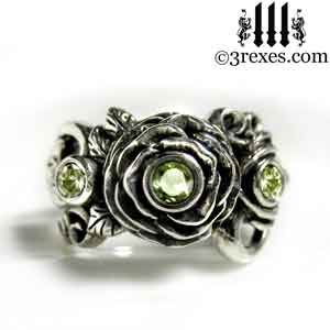 silver-rose-moon-spider-ring-green-peridot-stone-wedding-engagement-band august birthstone by 3 rexes.jewelry