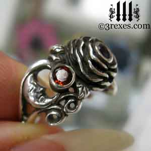 silver rose ring, silver spider ring, silver flower ring, with spider detail and red garnet stones january birthstone jewelry