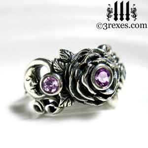 silver rose ring, silver moon ring, silver spider ring, silver flower ring, with spider detail and purple amethyst stones february birthstone jewelry