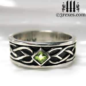 soul-love-anam-gra-mens-silver-celtic-knot-wedding-ring-green-peridot-stone-front-gothic-band-august-birthstone