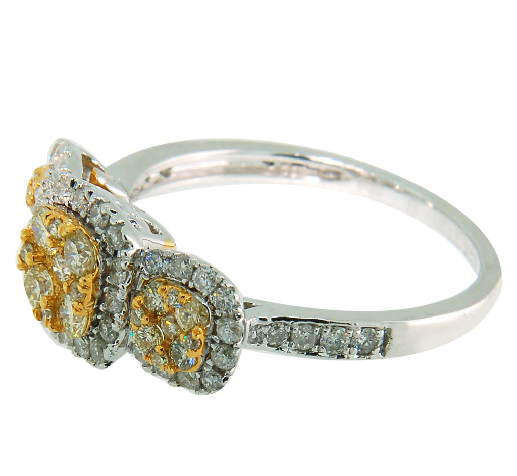 14KT Two Toned  Round Cut White & Yellow Diamond Cluster Ring 662772
