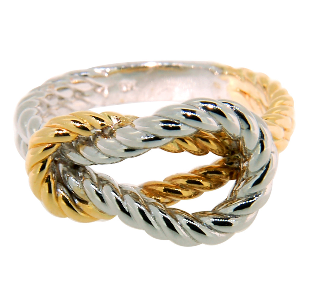 14KT Two Toned Braided Love Knot Ring 42593REF