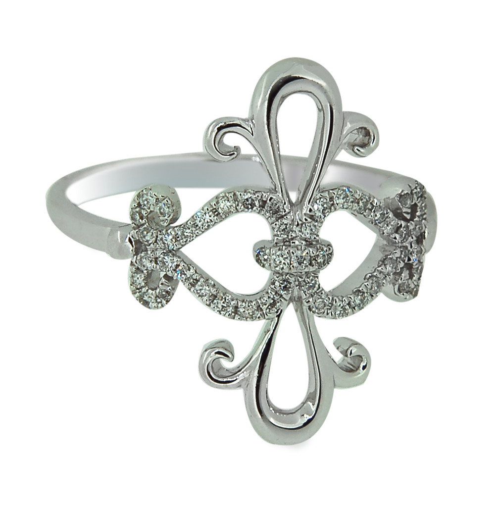 Fleur De Lis Ring with Round cut Diamonds set in 14Kt White Gold 42993