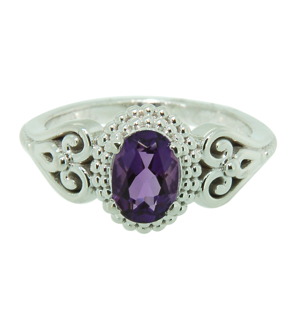 Amethyst Ring set in 14Kt White Gold Oval Shape Center 41913R