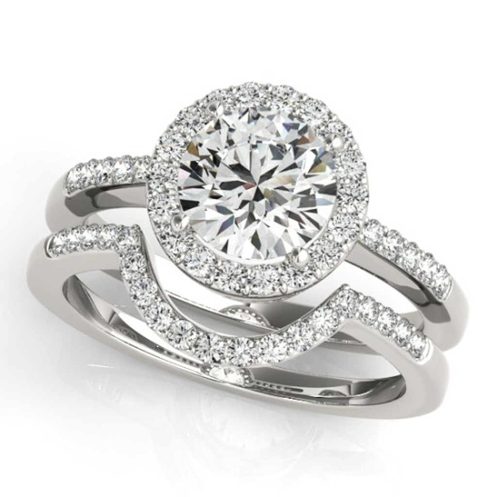 14KT White Gold Round Diamond Halo Engagement Ring 83499-4