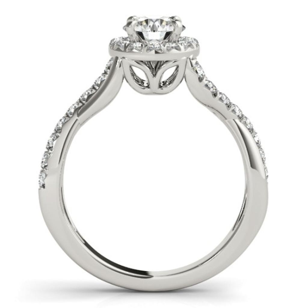 14KT White Gold Round Diamond Halo Engagement Ring 50886-E
