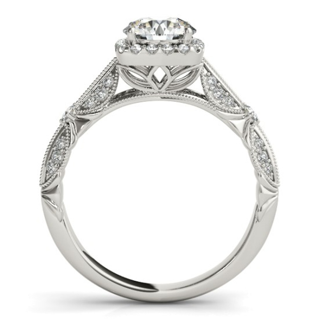 14KT White Gold Round Diamond Halo Engagement Ring 50874-E