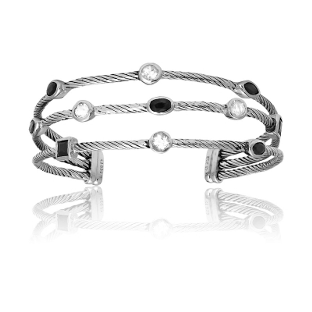 Sterling Silver 3-Strand Multi-Shaped White Topaz and Black Sapphire CZ Bangle