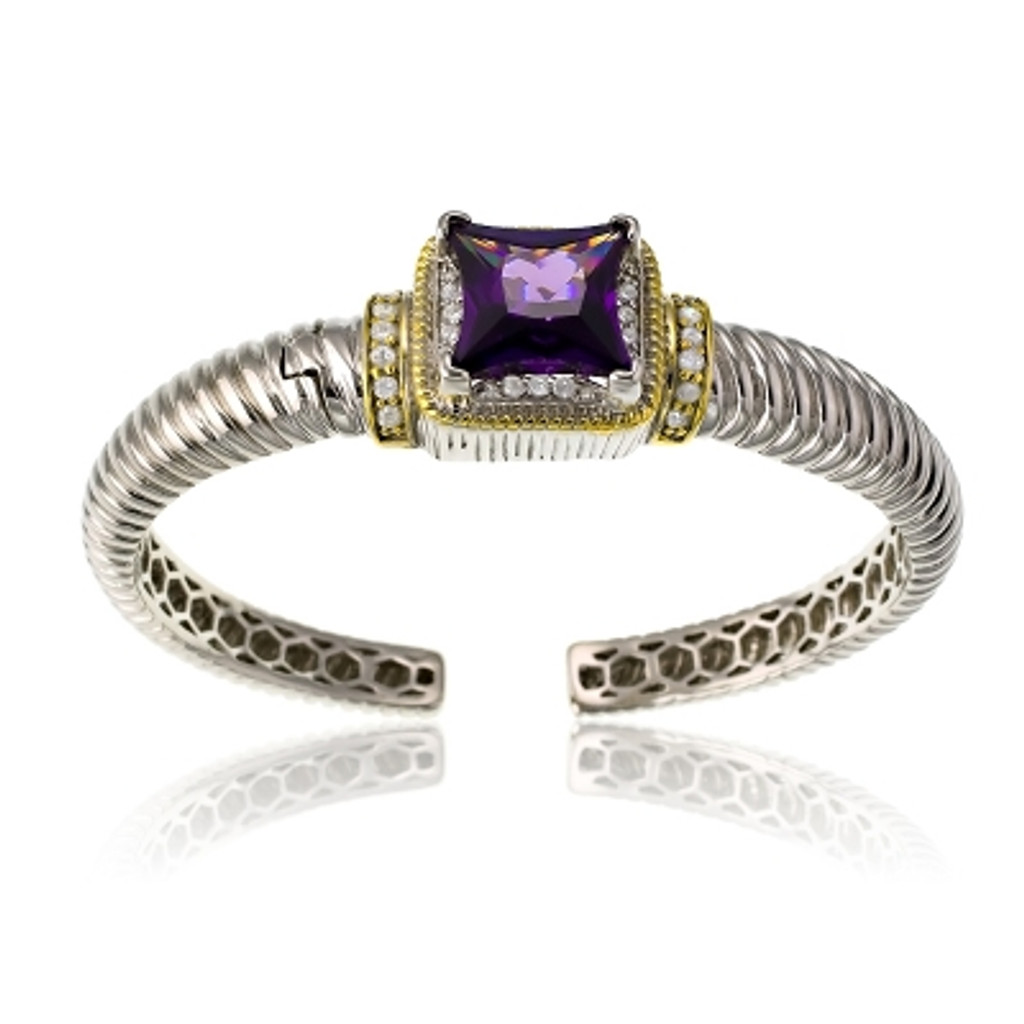 Sterling Silver Gold Plated & CZ Center with Large Square Amethyst CZ Bangle