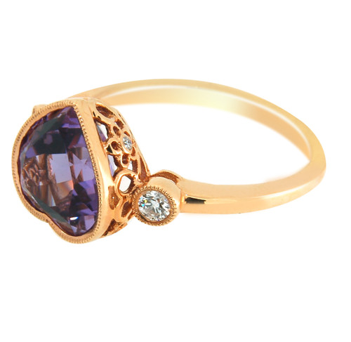 Heart Shape Amethyst Ring with Round cut Diamonds set in 14Kt Rose Gold 33234