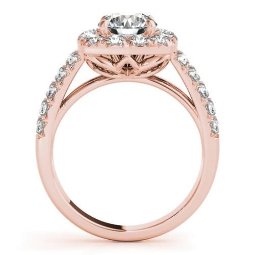 14KT White Gold Round Diamond Halo Engagement Ring 50657-E