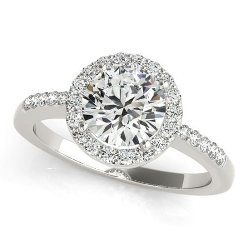 14KT White Gold Round Diamond Halo Engagement Ring 83499-4