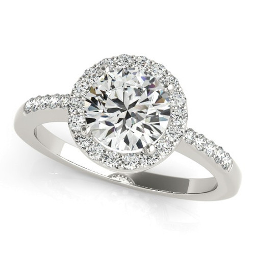 14KT White Gold Round Diamond Halo Engagement Ring 50891-E