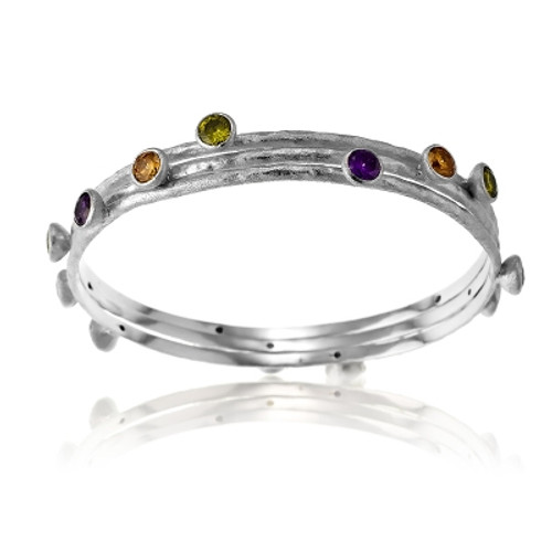 Sterling Silver Triple Textured Bangle with Multi Color Circle CZ Bangle
