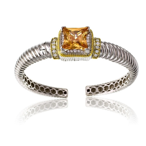Sterling Silver Gold Plated & CZ Center with Large Square Champagne CZ Bangle
